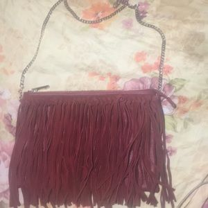 Leather Burgundy with suede Fringes ♥️